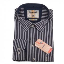 Pánská košile šedá dlouhý rukáv Tonelli 110930